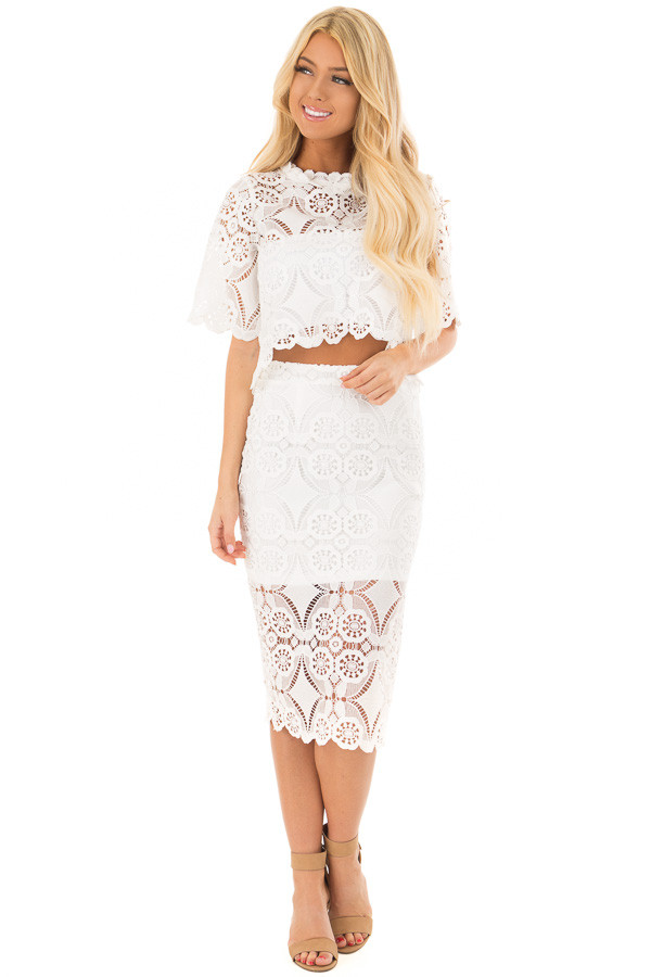 Off White High Waist Lace Pencil Skirt with Back Slit front full body