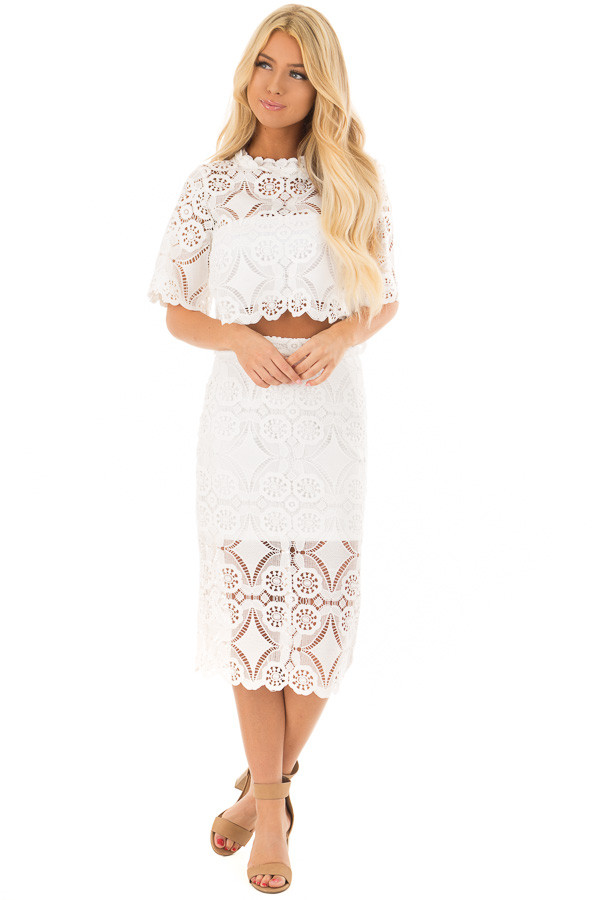 3eb5a8b358e53 Off White High Waist Lace Pencil Skirt with Back Slit - Lime Lush ...