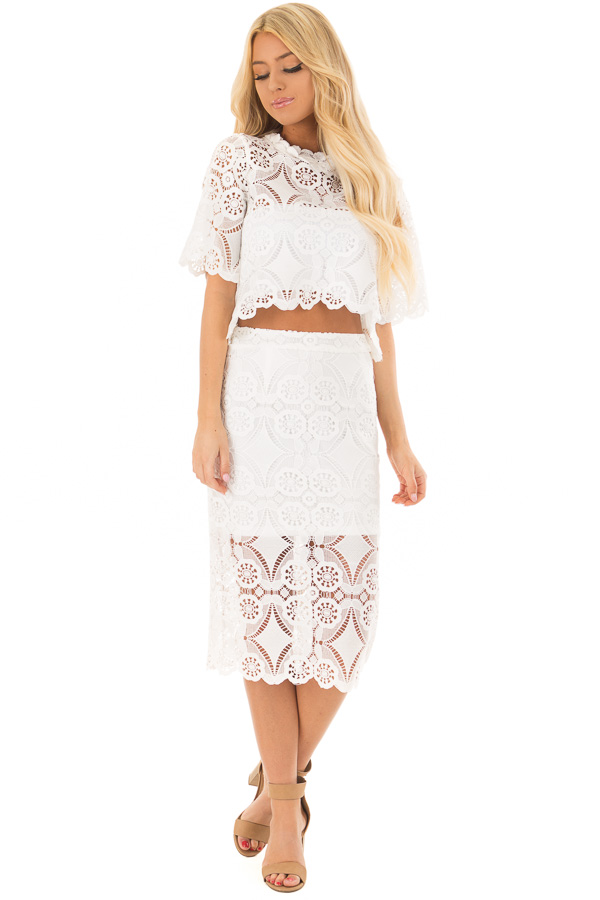 964cb5f56dfc60 ... Off White Sheer Crochet Lace Crop Top with 3 4 Sleeves front full body  ...