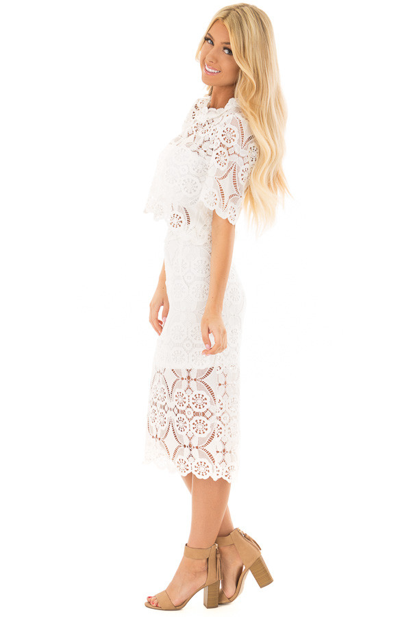 56febe16e289d7 ... Off White Sheer Crochet Lace Crop Top with 3 4 Sleeves side full body  ...