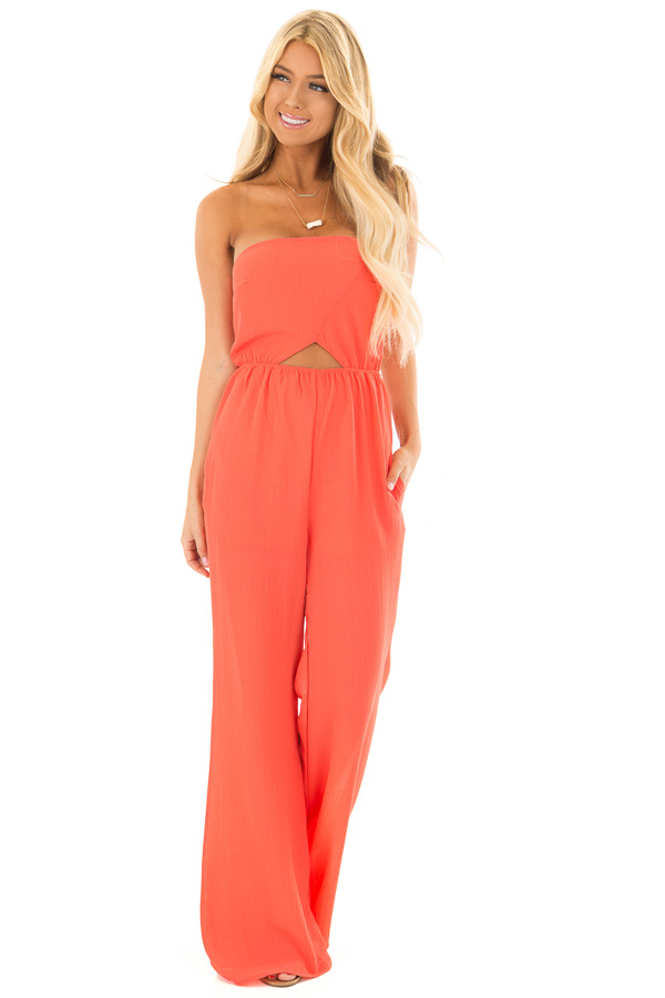 c9f6e2baeed Coral Strapless Jumpsuit with Cut Outs - Lime Lush Boutique