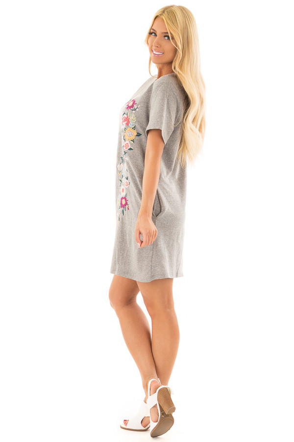 Grey Short Sleeve Floral Embroidered Dress with Pockets side full body