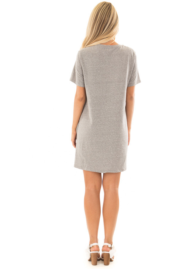Grey Short Sleeve Floral Embroidered Dress with Pockets back full body