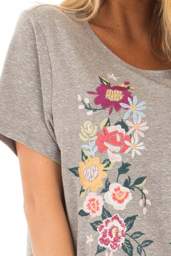 Grey Short Sleeve Floral Embroidered Dress with Pockets detail