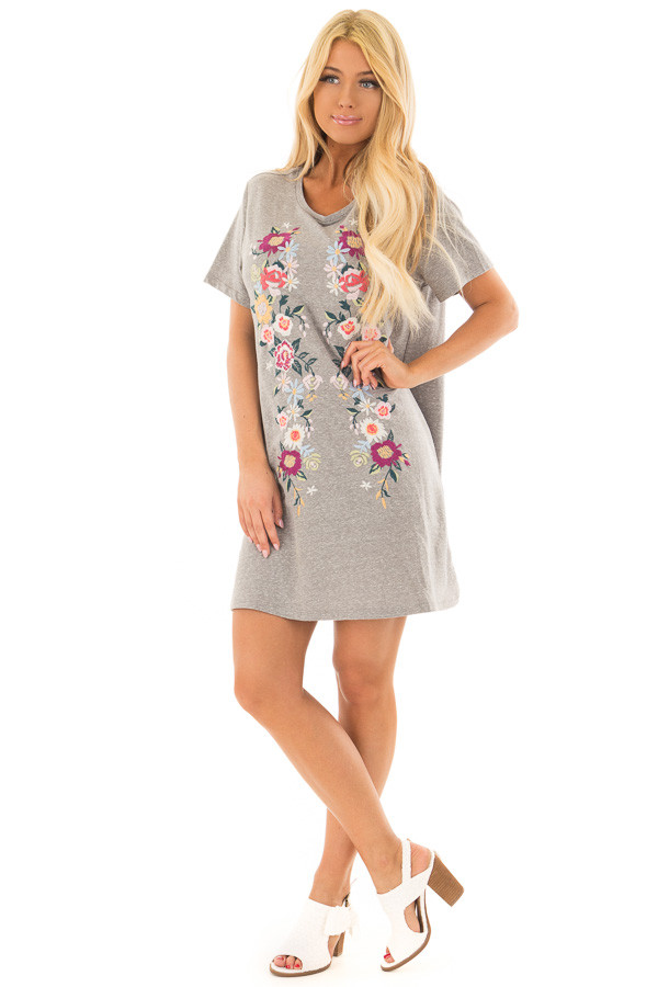 Grey Short Sleeve Floral Embroidered Dress with Pockets front full body
