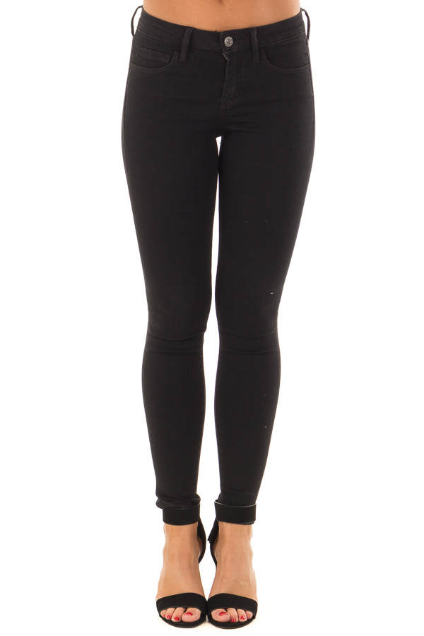 Black Ivy Mid Rise Ankle Skinny Jeans front view