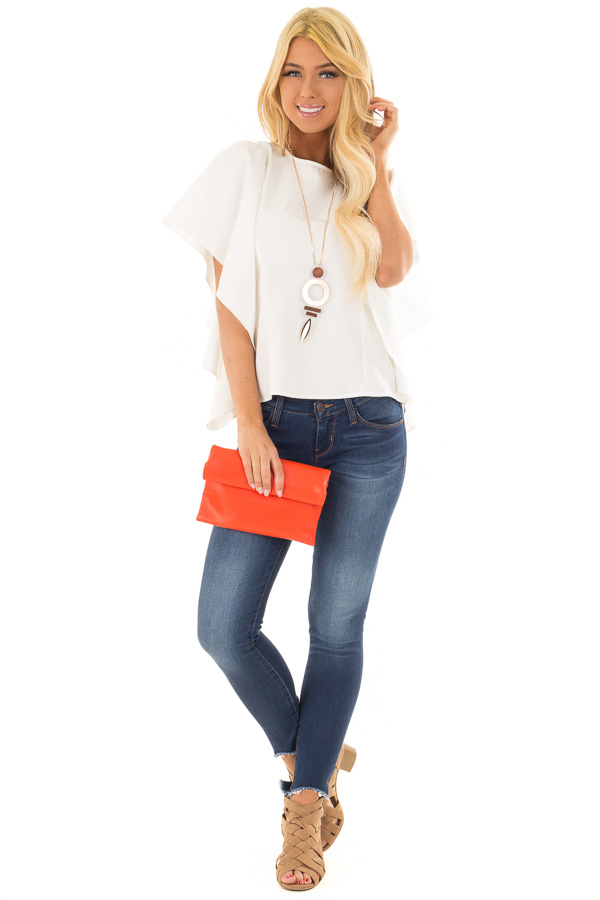 Tomato Red Faux Leather Roll Over Clutch front full body