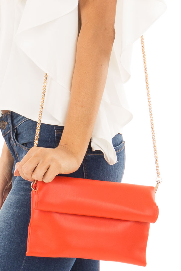 Tomato Red Faux Leather Roll Over Clutch detail