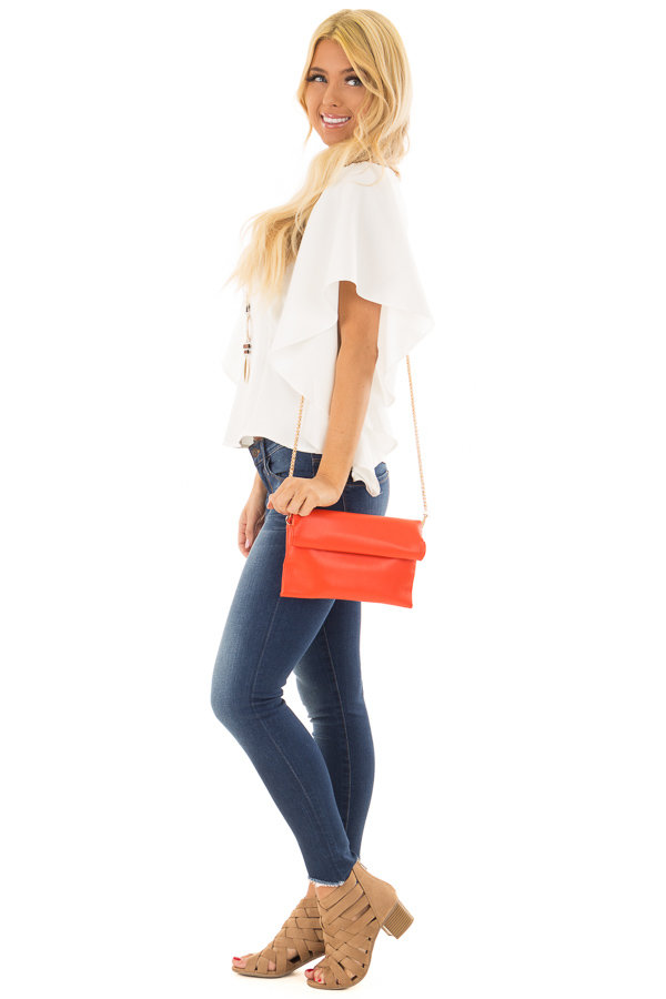 Tomato Red Faux Leather Roll Over Clutch side full body