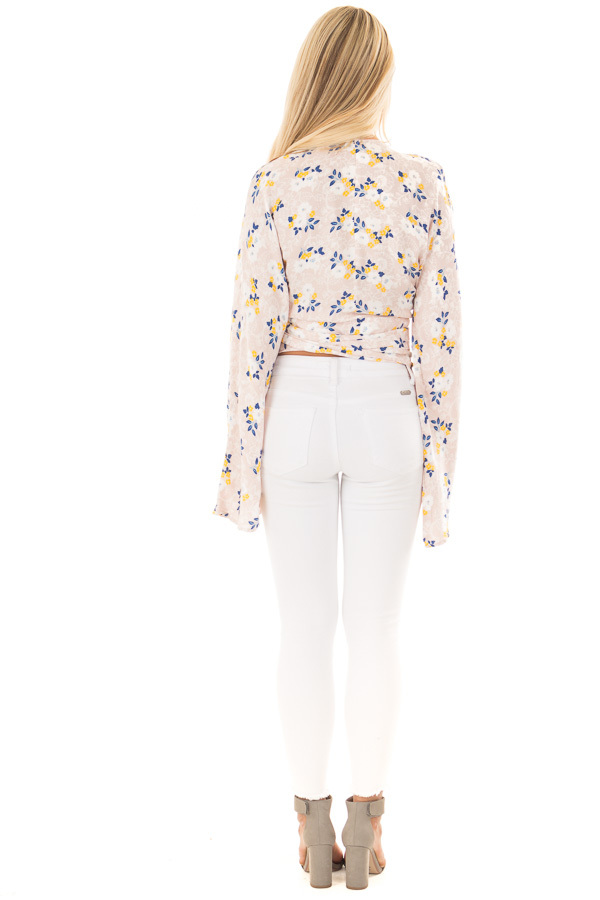 Dusty Rose Floral Wrap Top with Flare Sleeves back full body