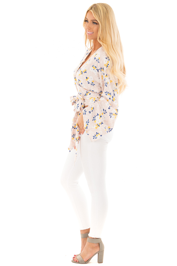 Dusty Rose Floral Wrap Top with Flare Sleeves side full body