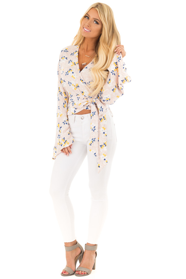 Dusty Rose Floral Wrap Top with Flare Sleeves front full body