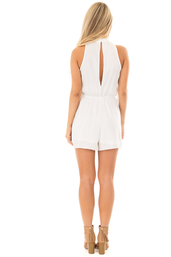 Off White Tank Top Romper with Keyhole Back back full body