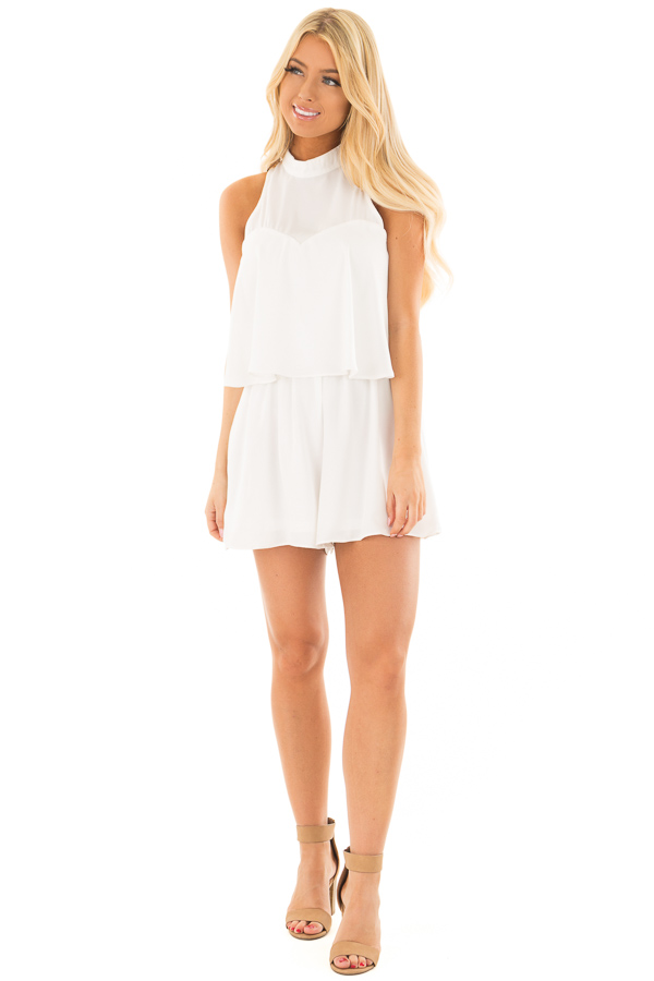Off White Tank Top Romper with Keyhole Back front full body