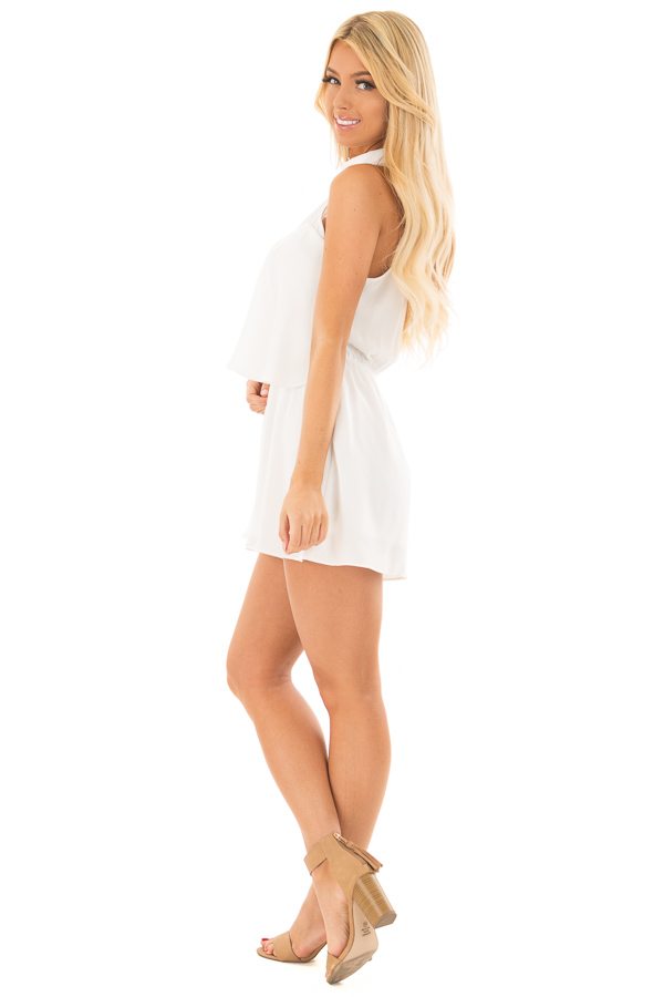 Off White Tank Top Romper with Keyhole Back side full body