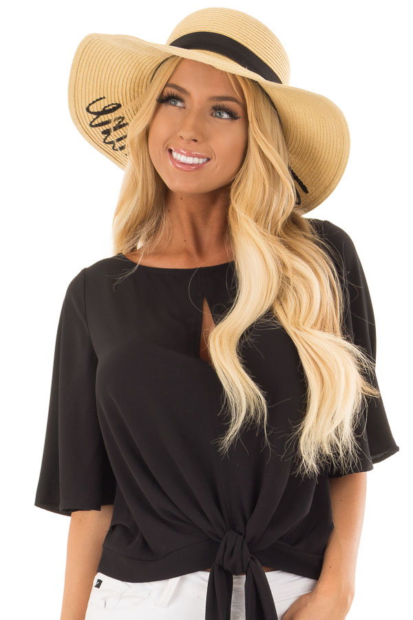 Natural Straw 'Hello Sunshine' Sun Hat front
