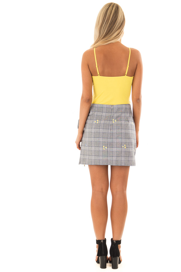 Grey Plaid Skirt with Sunshine Yellow Floral Print back full body