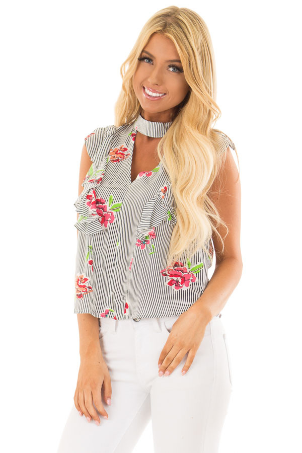 6583478bb0130 Navy Striped Floral Print Top with Ruffle Details - Lime Lush Boutique