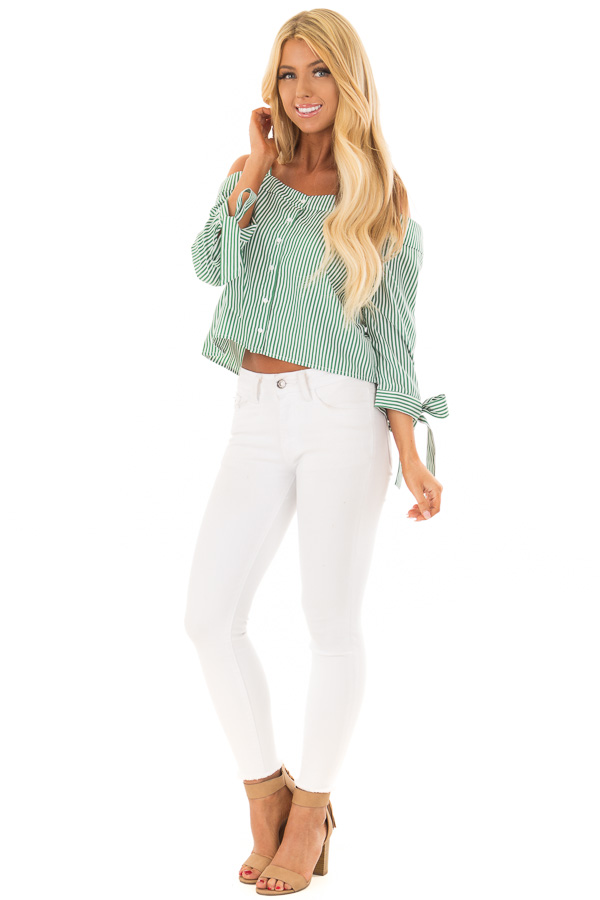 9a9012fd2a1322 ... up · Leaf Green Striped Cold Shoulder Top with Sleeve Ties front full  body ...
