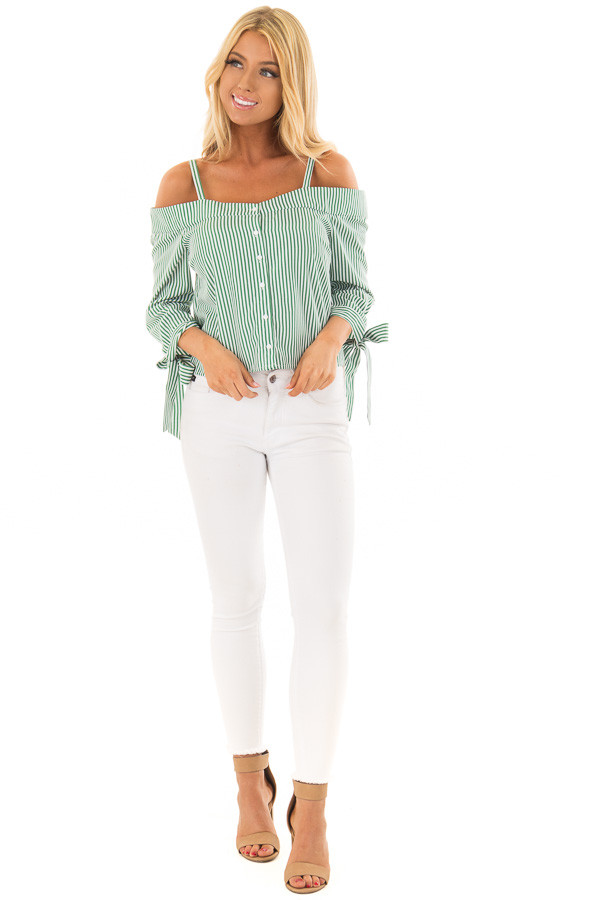 8d874367be15e0 Leaf Green Striped Cold Shoulder Top with Sleeve Ties front full body ...