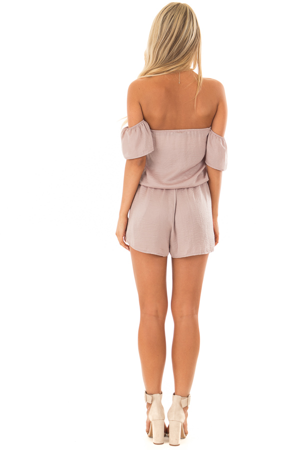 Faded Rose Off the Shoulder Romper with Layered Detail back full body