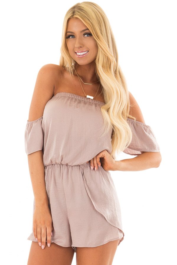 Faded Rose Off the Shoulder Romper with Layered Detail front close up