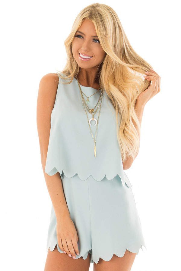 80b48509cdb0 Blue Mint Romper with Scalloped Hemline and Open Back - Lime Lush ...
