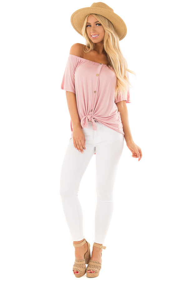 b326cf9019772 ... Misty Rose Off the Shoulder Top with Button Details front full body ...