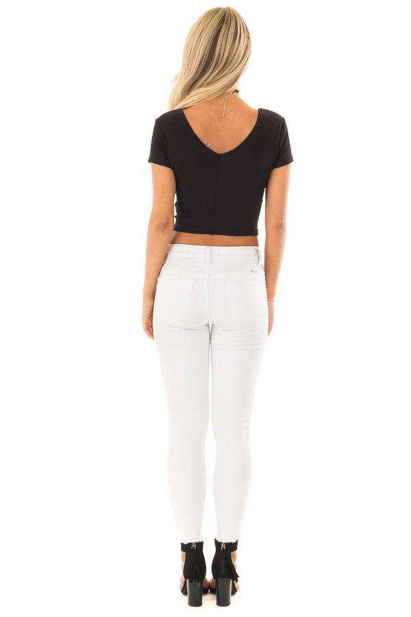 6842dd427a1e5 ... Black Ribbed Knit Crop Top with Cross Layered Front back full body ...