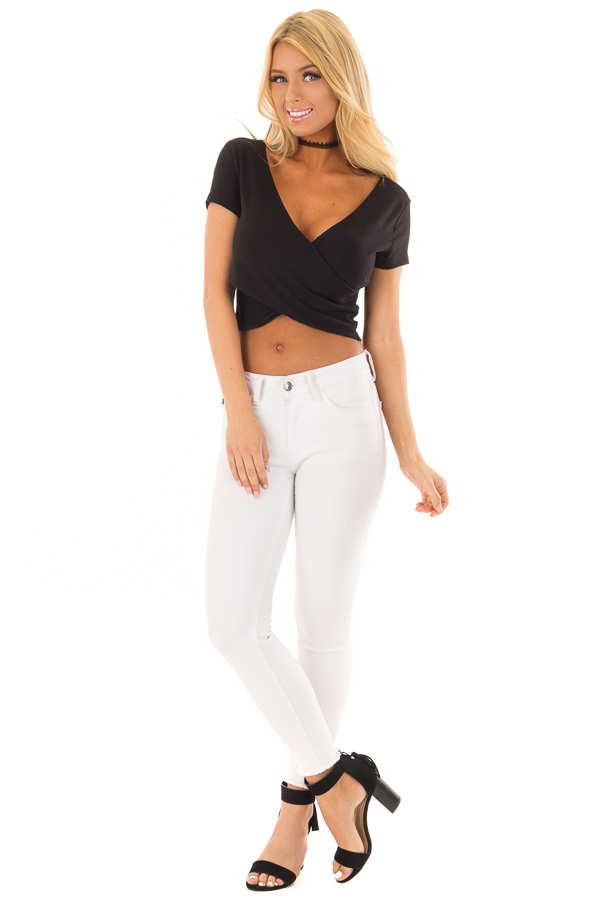 22d7592623fe3 ... Black Ribbed Knit Crop Top with Cross Layered Front front full body ...