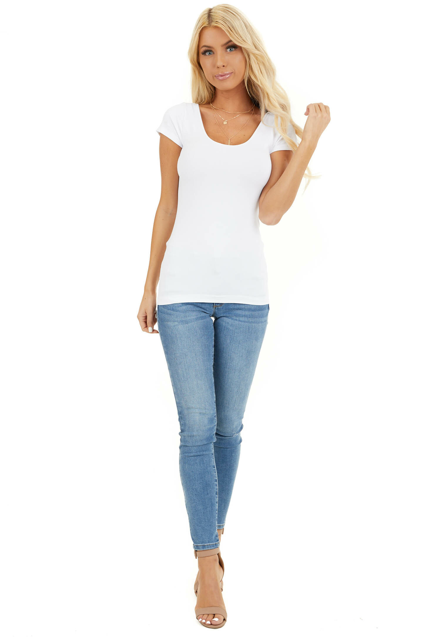 White Cap Sleeve Stretchy Scoop Neck Tee front full body