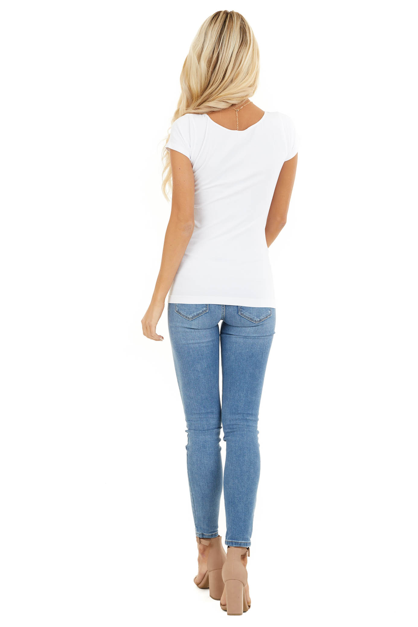 White Cap Sleeve Stretchy Scoop Neck Tee back full body
