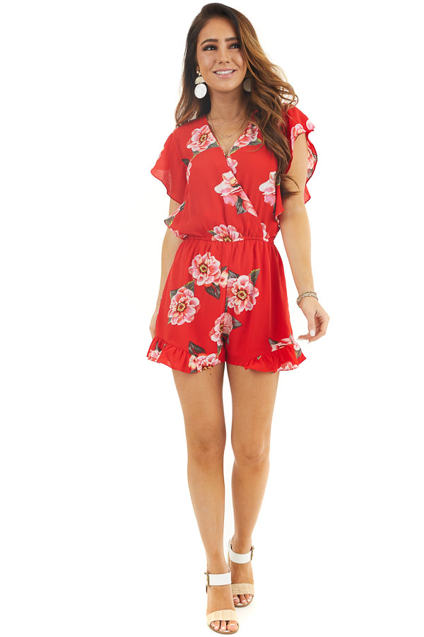 Scarlet Floral Surplice Romper with Ruffle Detail