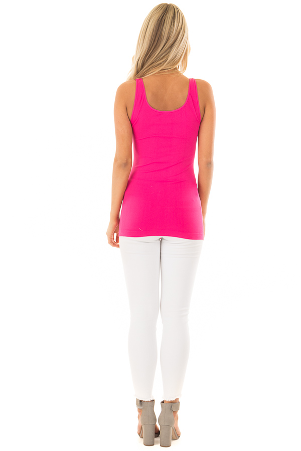 Fuchsia Comfy Seamless Long Tank Top back full body