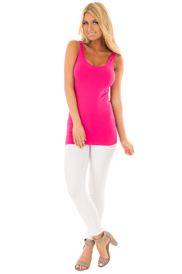 Fuchsia Comfy Seamless Long Tank Top front full body