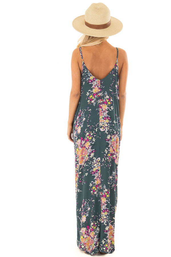 c434df4308b ... Forest Green Floral Sleeveless Cocoon Maxi Dress back full body ...