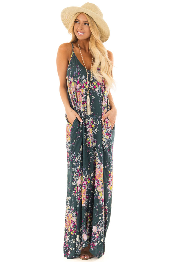 f6bc6f8cab8018 Forest Green Floral Sleeveless Cocoon Maxi Dress - Lime Lush Boutique