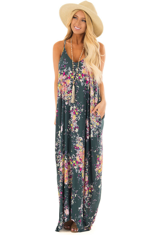 49ec94078d7 ... Forest Green Floral Sleeveless Cocoon Maxi Dress front full body ...