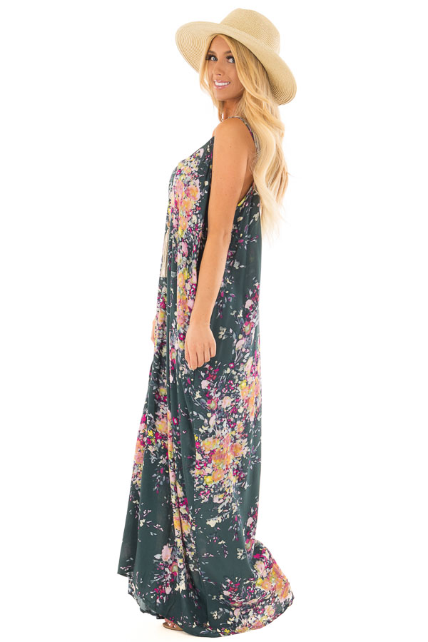 172571045b3 ... Forest Green Floral Sleeveless Cocoon Maxi Dress side full body ...
