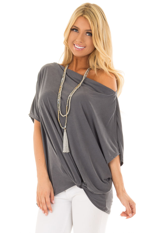 f86d66eb8cd Charcoal Off the Shoulder Top with Front Twist - Lime Lush Boutique