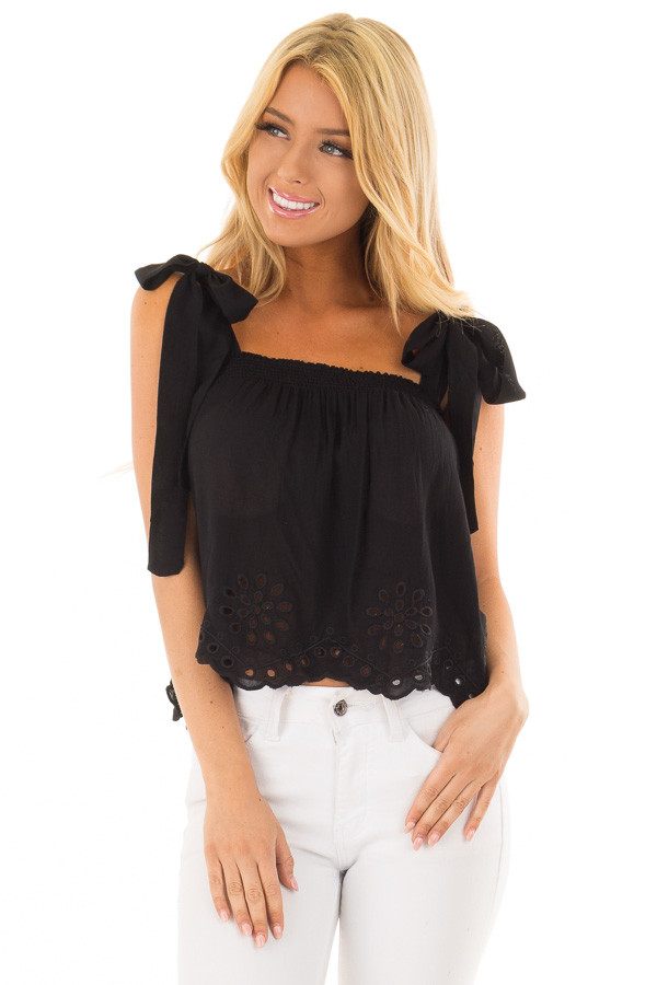 ee1b4b0730c85 Black Crop Top with Eyelet Lace Trim Hem and Tie Straps - Lime Lush ...