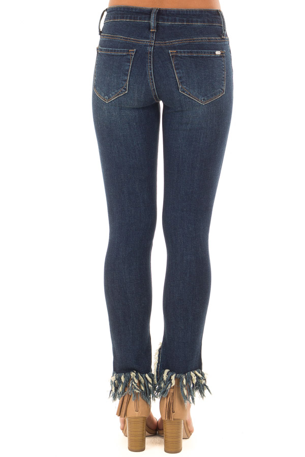 b1e03c6781 Dark Wash Distressed Denim Jeans with Frayed Hem - Lime Lush Boutique