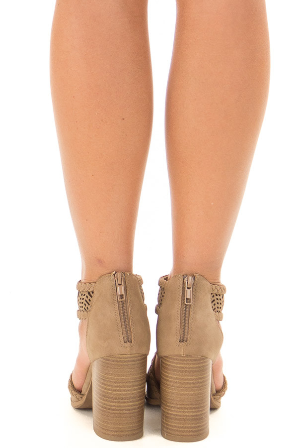 Light Taupe Bootie with Cut Out Details back view