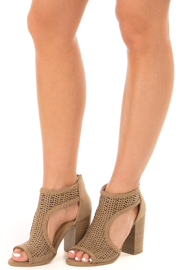 Light Taupe Bootie with Cut Out Details front side view