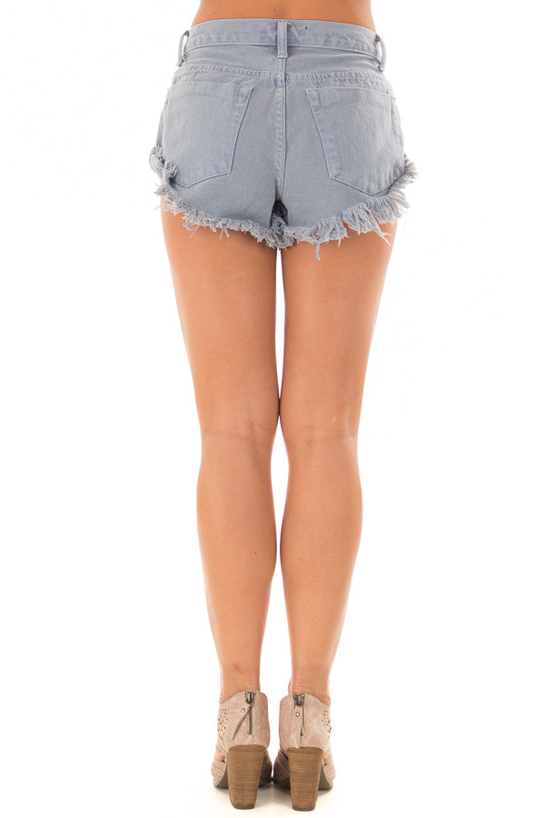 Dusty Blue Shorts with Frayed Detail back view