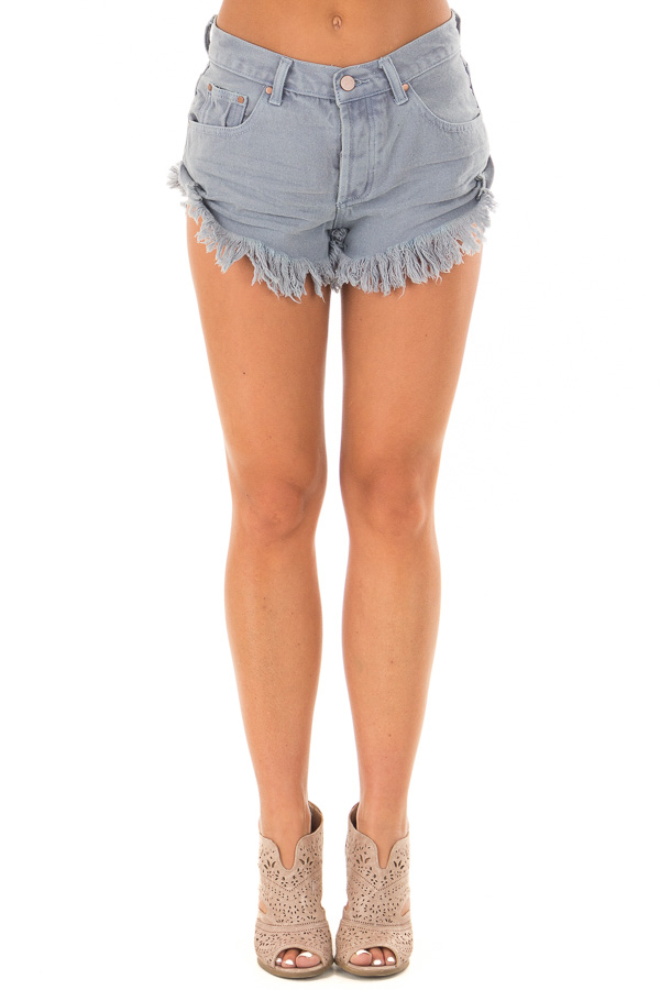 Dusty Blue Shorts with Frayed Detail front view