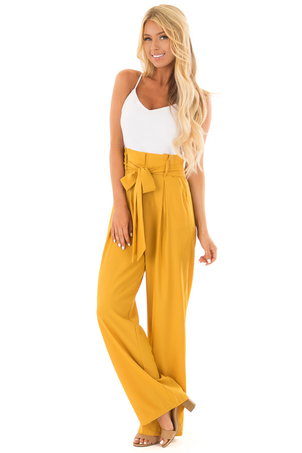 4a6b5528f0c1 Mustard Jumpsuit with Waist Tie and Side Pockets - Lime Lush Boutique