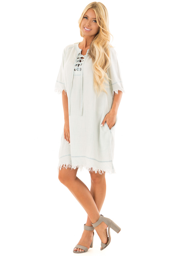 Light Denim Dress with Lace Up Neckline and Fringe Detail front full body