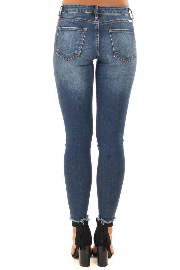 Dark Wash Ankle Skinny Jean with Distressed Details back vew