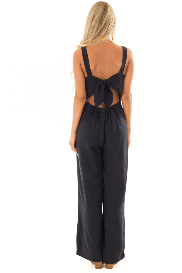 Navy Button Up Jumpsuit with Open Tie Back back full body